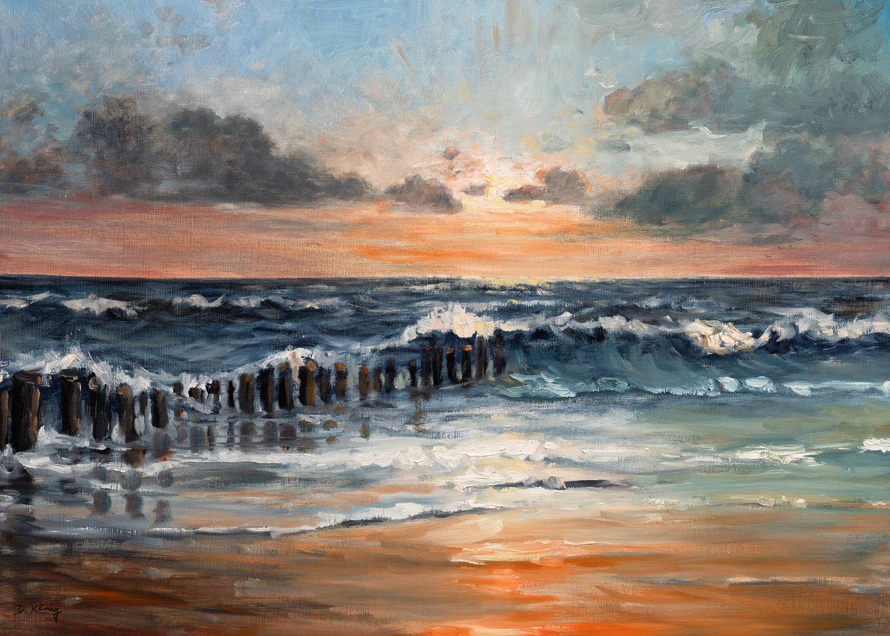 Bunen Im Sonnenuntergang - 50 X 70 Cm - Öl Auf Leinen