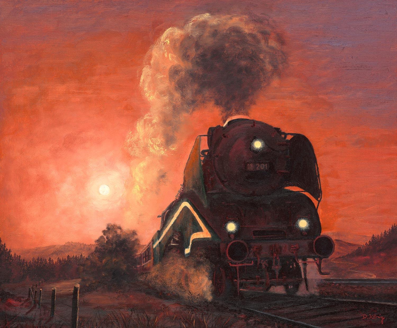 Dampflok Im Sonnenuntergang IV - Dampflok 18 201 - 50 X 60 Cm - Öl Auf Leinen