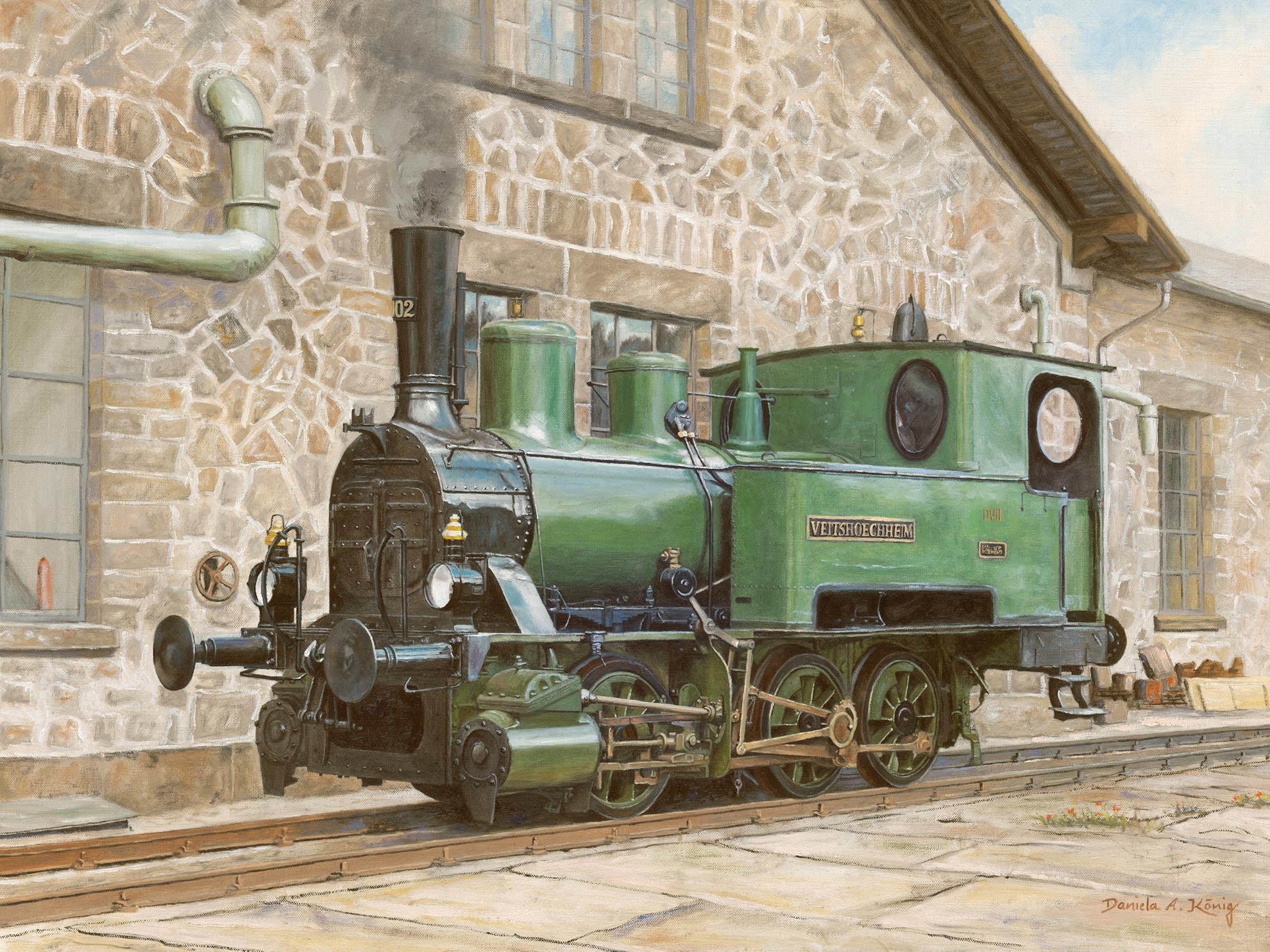 Dampflok Veitshöchheim - Bayerische Lokalbahnlokomotive D VII 102 (später DRG 98 7607) Vor Historischem Lokschuppen - 60 X 80 Cm - Öl Auf Leinen