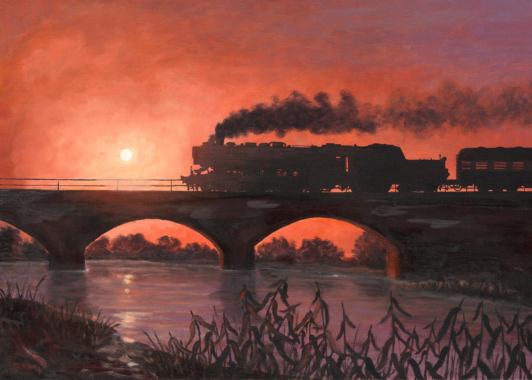 Dampflok Im Sonnenuntergang II - Baureihe 52 Reko - 50 X 70 Cm - Öl Auf Leinen