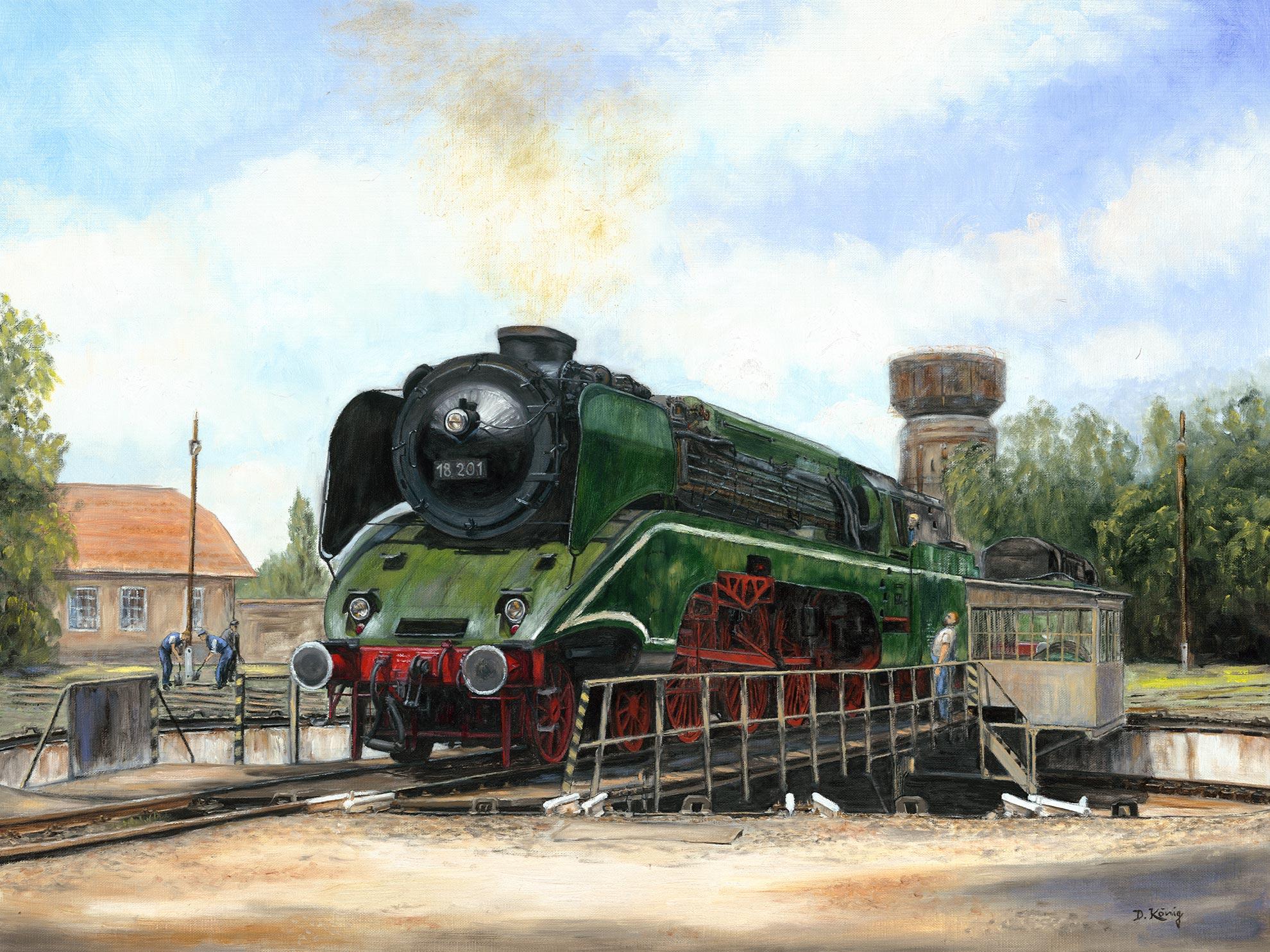 In Der Fremde - Dampflok 18 201 Auf Der Drehscheibe Des Eisenbahnmuseums Budapest - 60 X 80 Cm - Öl Auf Leinen