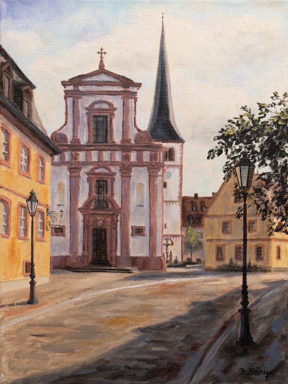 Veitshöchheim Kirchstrasse Mit Pfarrkirche St. Vitus - 30 X 40 Cm - Öl Auf Leinen