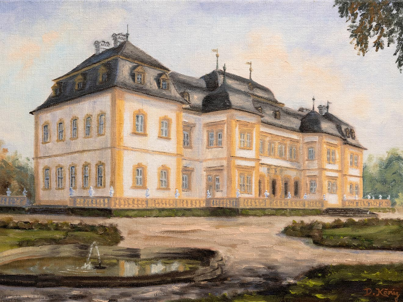 Veitshöchheimer Schloss - 30 X 40 Cm - Öl Auf Leinen