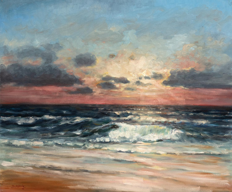 Welle Im Sonnenuntergang - 50 X 60 Cm - Öl Auf Leinen